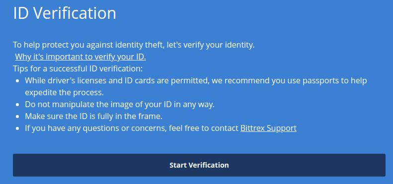 верификация bittrex